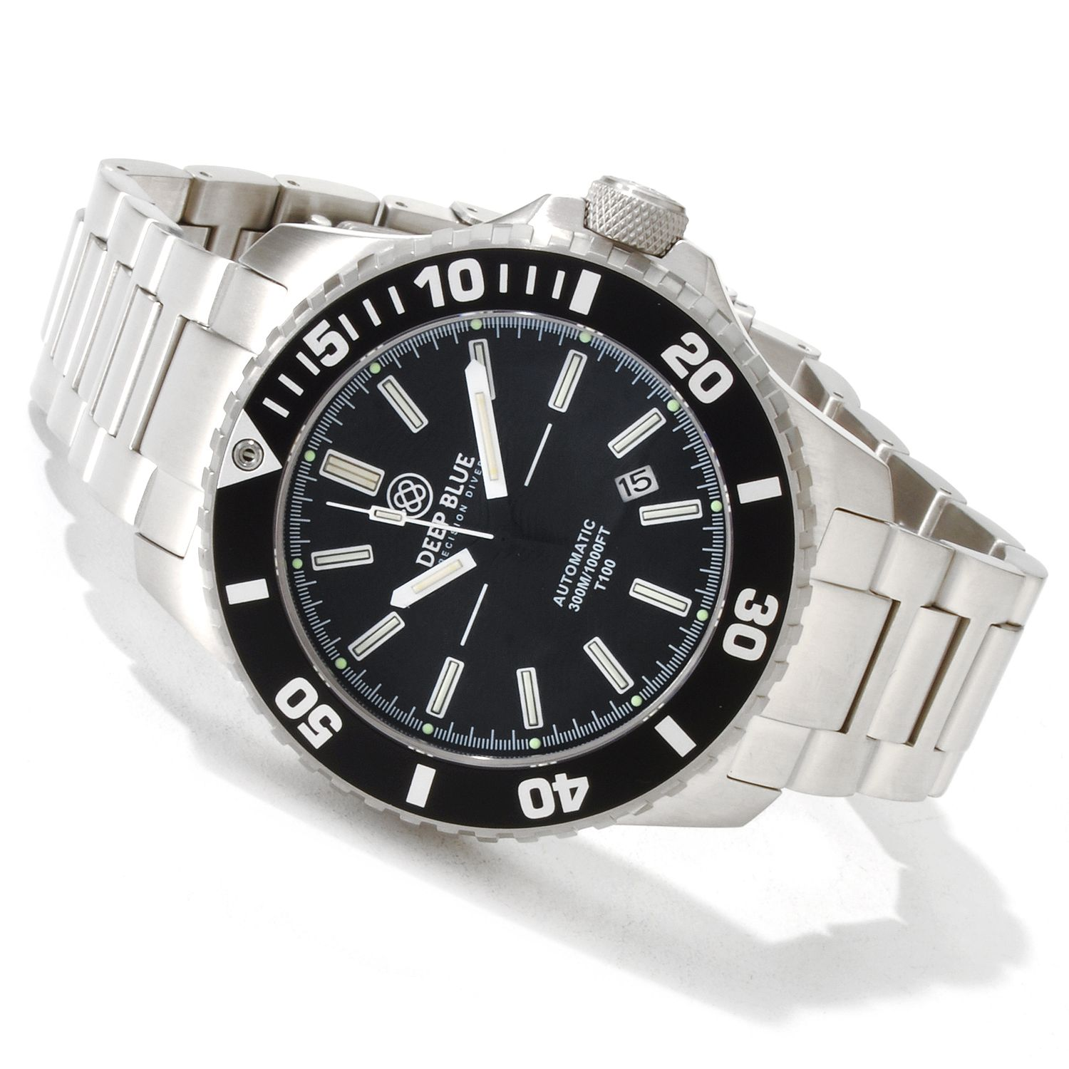 Deep blue daynight diver t100 tritium automatic watch ebay for Tritium dive watches