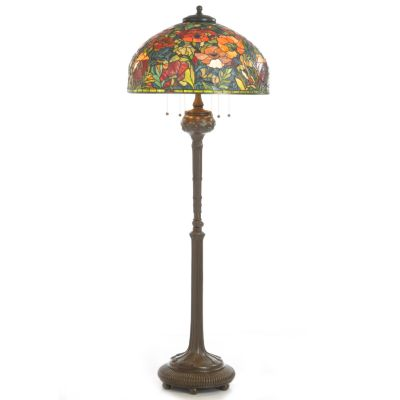 Oriental Poppy Stained Glass Floor Lamp. $ 1588.00