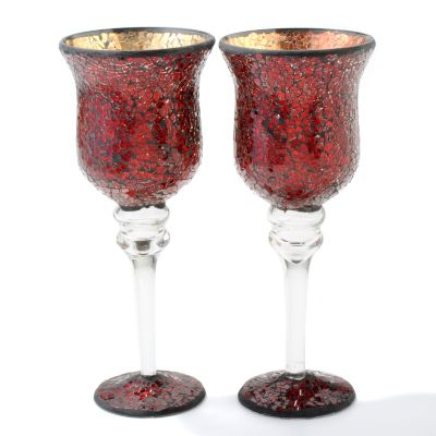 Mosaic Glass 12' Votive Pedestal Candle Holders - Set of Two. RED, GOLD, SILVER $ 24.11