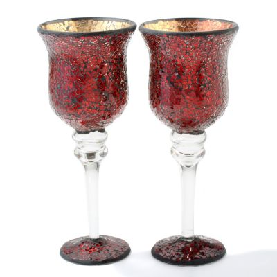Mosaic Glass 12' Votive Pedestal Candle Holders - Set of Two. RED $ 24.11