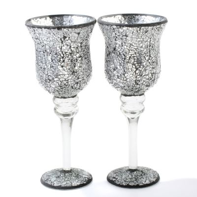 Mosaic Glass 12' Votive Pedestal Candle Holders - Set of Two. SILVER $ 24.11