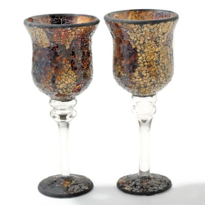 Mosaic Glass 12' Votive Pedestal Candle Holders - Set of Two. GOLD $ 24.11