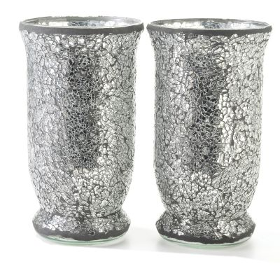 Mosaic Glass 9' Votive Tumbler Candle Holders - Set of Two. SILVER $ 19.21