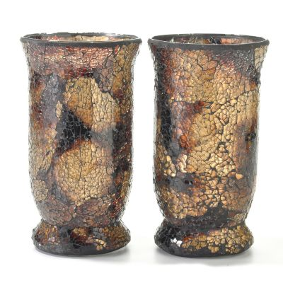 Mosaic Glass 9' Votive Tumbler Candle Holders - Set of Two. GOLD $ 19.21