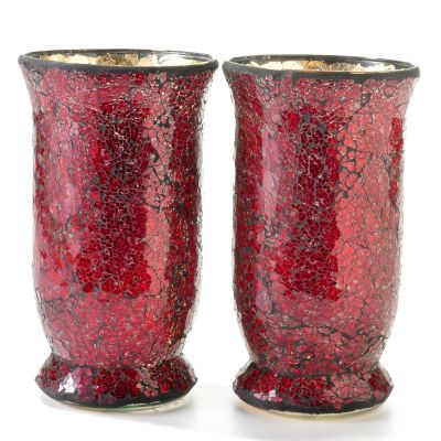 Mosaic Glass 9' Votive Tumbler Candle Holders - Set of Two. RED $ 19.21