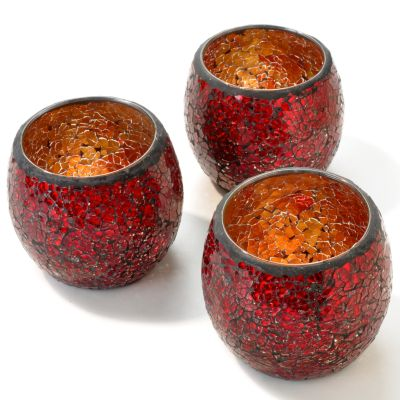 Mosaic Glass 4' Votive Cup Candle Holders - Set of Three. RED $ 12.14