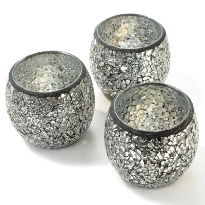 Mosaic Glass 4' Votive Cup Candle Holders - Set of Three. SILVER $ 12.14