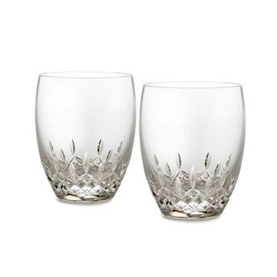 Fashioned Names  Babies on Waterford Crystal  Lismore Essence  Double Old Fashioned Glasses Pair