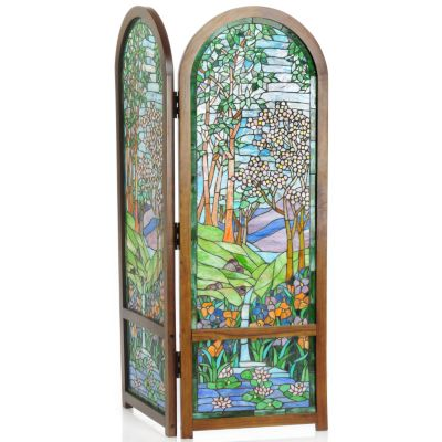 Nature's Valley Stained Glass Two Panel Folding Floor Screen $ 409.28