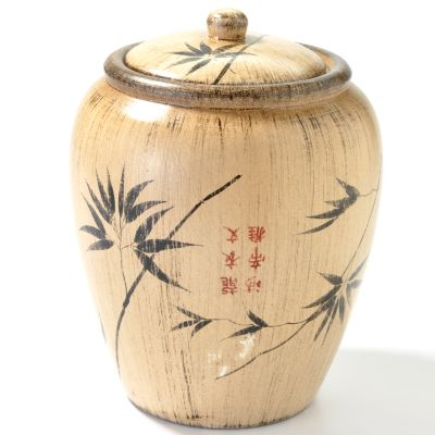 Hand-Painted 8' Bamboo Design Decorative Storage Jar. $ 18.41