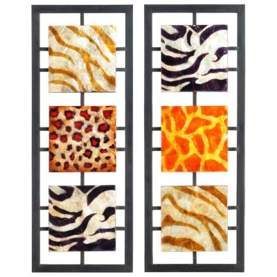 Animal Print Wrought Iron Wall Plaques - Set of Two. $ 51.44