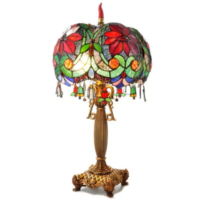 Extravagant Christmas Poinsettia Stained Glass Table Lamp. $ 181.00