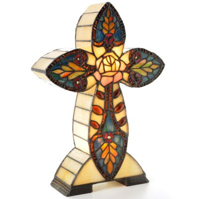 12.5' Rose Cross Stained Glass Accent Lamp. $ 56.64