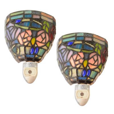 Tiffany-Style Stained Glass Night Lights w/ Auitomatic Sensors - Set of Two. $ 22.92