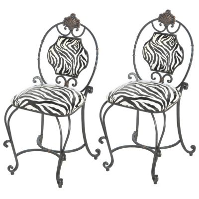 Zebra Stripe Iron Chairs - Set of Two. $ 218.25