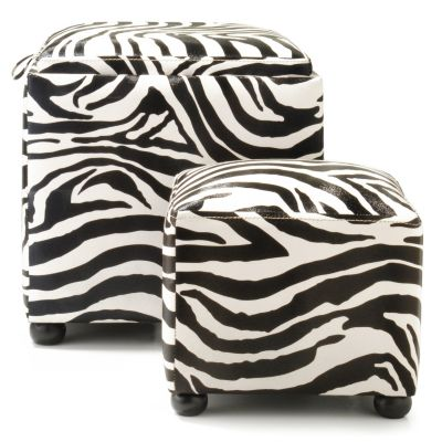 Zebra Print Nesting Ottomans - Set of Two. $ 79.87