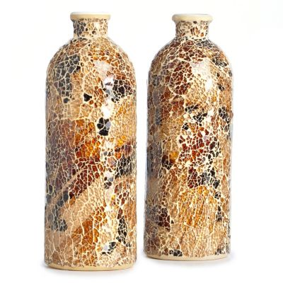 Mosaic Glass Decorative Bottles - Set of Two. $ 36.00