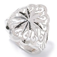 10K White or Yellow Gold Diamond Cut Filigree Ring