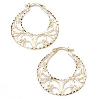 14K Gold Diamond Cut Filigree Hoop Earrings