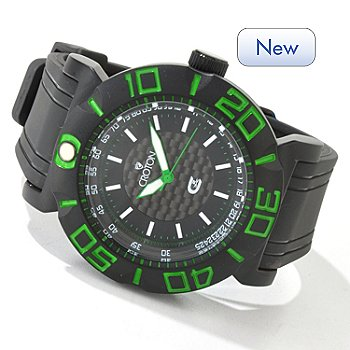 Croton Men's CX2 Sport Quartz Carbon Fiber Dial Rubber Strap Watch