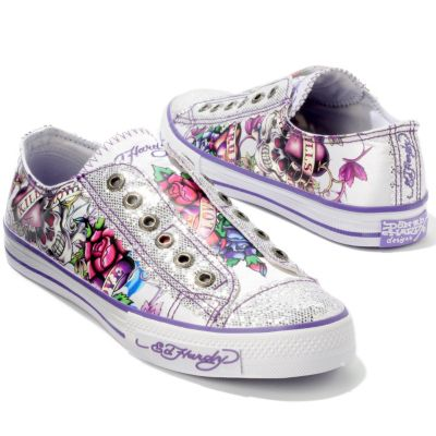 Ed Hardy Lowrise Glitter Blue Glitter Fashion Sneaker Shoes at