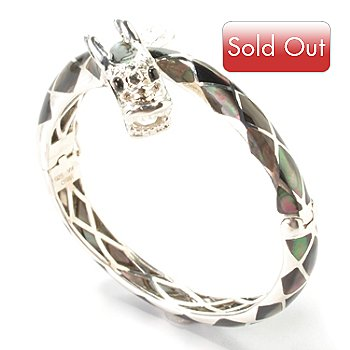 103-510 - Sterling Silver 7'' Choice Hinged Dragon Bangle Bracelet