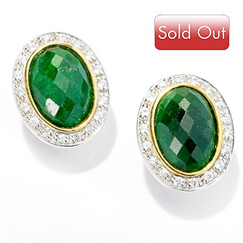 107-409 - NYC II 14 x 10mm Dyed Gemstone & White Zircon Oval Earrings