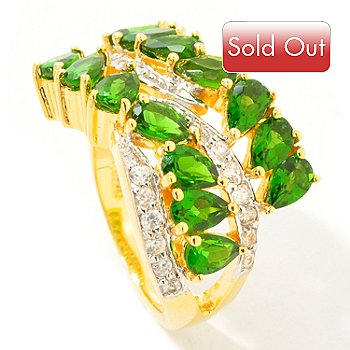 112-149 - Sterling Silver / 18K Vermeil Green Chrome Diopside & White Zircon Ring