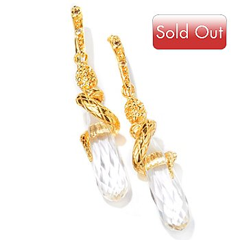 112-796 - Toscana Italiana Gold Embraced™ 22.68ctw Snake w/ Quartz Drop Earrings