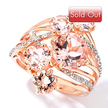114-142 - Gem Treasures 14K Rose Gold 3.13ctw Multi Stone Morganite & Diamond Ring