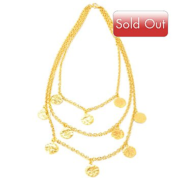 114-212 - Toscana Italiana Gold Embraced™ 18'' Cascading Martellato Charm Necklace