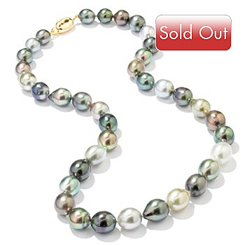 114-315 - 18K 8-10mm Multi-Color Cultured Tahitian Pearl Necklace