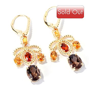 114-724 -  Sterling Silver / 18K Vermeil Smoky Quartz, Madeira Citrine & Citrine Dangle Earrings