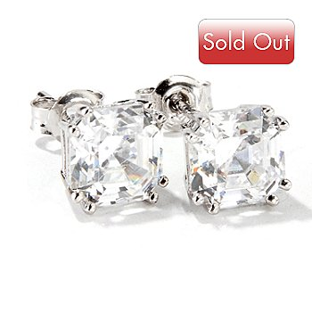 114-884 - Brilliante® Platinum Embraced™ Asscher Cut Stud Earrings