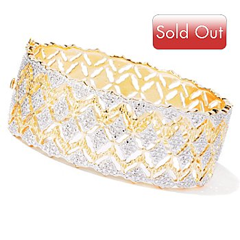 114-885 - Jaipur Bazaar Gold Embraced™ 7.25'' Diamond Accent Hinged Bangle Bracelet