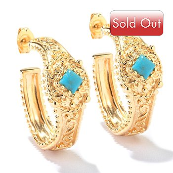114-896 - Jaipur Bazaar Gold Embraced™ Stabilized Turquoise Hoop Earrings