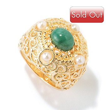 114-899 - Jaipur Bazaar Gold Embraced™ Freshwater Cultured Pearl & Emerald Ring