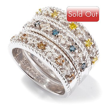115-315 - Gem Treasures Sterling Silver Blue, Yellow & Mocha Diamond Rings