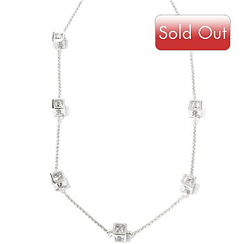 115-428 - TYCOON 24'' Platinum Embraced™ 10.94 DEW Square Simulated Diamond Station Necklace