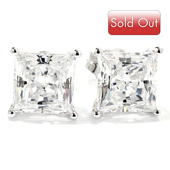 116-588 - Brilliante® Platinum Embraced™ 3.18 DEW Princess Cut Stud Earrings