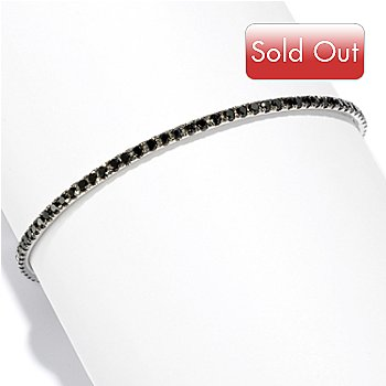 116-942 - Gem Treasures Sterling Silver 4.55ctw Round Black Spinel Bangle