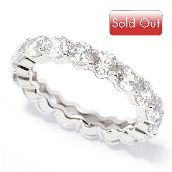 117-022 - BELITA[ PlatinumEmbraced Brill2.89 DEW 100 Facet Eternity Ring