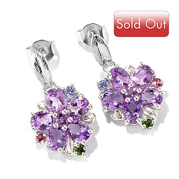 117-171 - NYC II 1'' Multi-Gemstone Flower Drop Earrings
