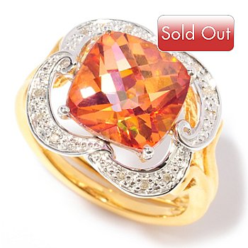 117-284 - Etruscan Dreams 6.05ctw Sunset Topaz & Diamond Ring