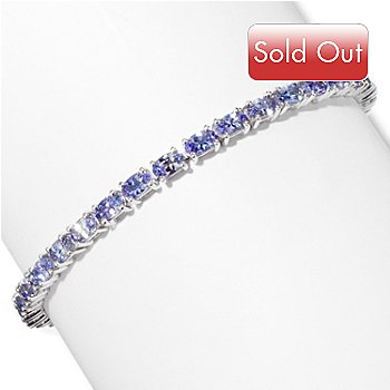 117-329 - Gem Insider Sterling Silver 7.5'' 7.42ctw 3x5mm Tanzanite Bracelet