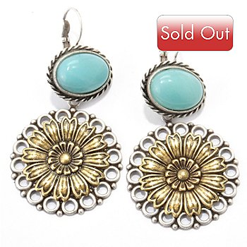 117-555 - Sweet Romance™ Two-tone 1930s Inspired RetroMex Flower Earrings