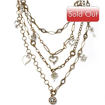 117-556 - Sweet Romance™ 18'' Multi Strand Victorian Inspired Charm Necklace