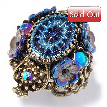 117-558 - Sweet Romance™ Vintage Style Peacock Color Oval Ring