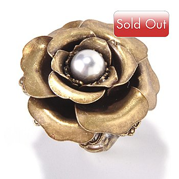 117-619 - Sweet Romance™ Glass Pearl Center Camellia Flower Ring