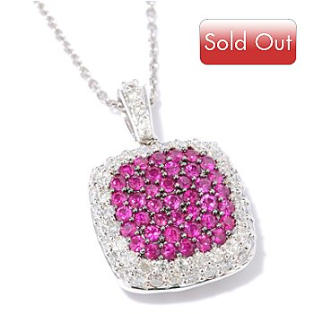 117-727 - 14K White Gold Ruby & Diamond Pendant w/ Chain